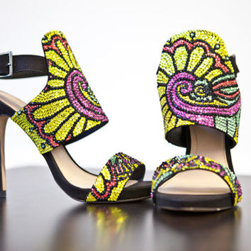 High heel- Customised Zara wrap around sandal with swarovski crystals in a vibrant pattern