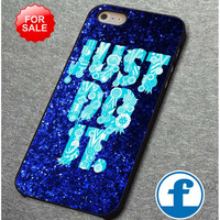 nike just do it mint blue sparkly for iphone, ipod, samsung galaxy, HTC and Nexus Phone Case