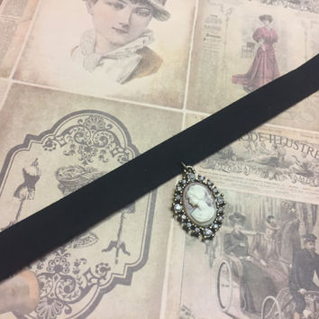 Pink and black Victorian Charm Choker necklace AHS Sally Inspired