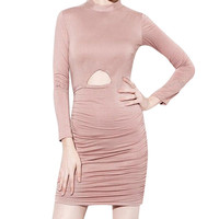 High Neck Long Sleeves Cut-out Dress