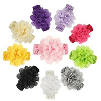 ROEWELL® Baby's Headbands Girl's Hair Bows Newborn headband Hair Flower (10 pcs)