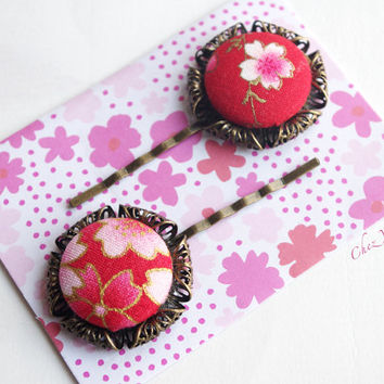 2 Red Bobby Pin Flower Japanese Fabric Button Hair Pin Hair Clip Accessories Jewelry Retro Romantic