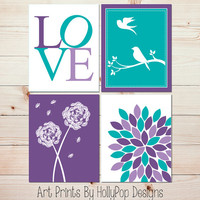 Purple Turquoise Wall Decor Modern Nursery Decor Set of 4 Art Prints Floral Burst Dandelion Birds on Branch Girl Nursery Girls Room 0847