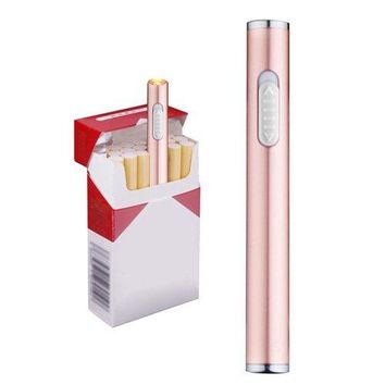 Mini Usb Plamsa Lighter Rechargeable Windproof Flameless Slim Protable Electronic Cigarette Lighters (Rose Gold)