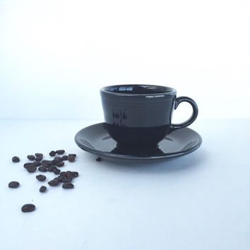 Vintage Fiestaware Black Cup and Saucer
