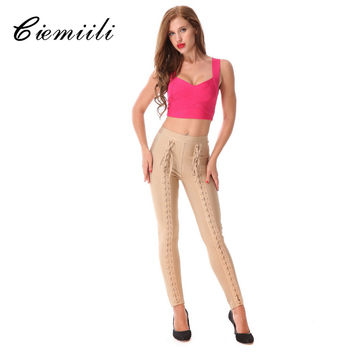 CIEMIILI 2017 Hollow Out Knitted Women Pencil Pants Skinny Evening Party Hot Fashion Bodycon Elastic Waist Pants Free Shipping