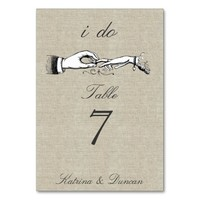 I Do Vintage Wedding Ring Cream Linen Table Card