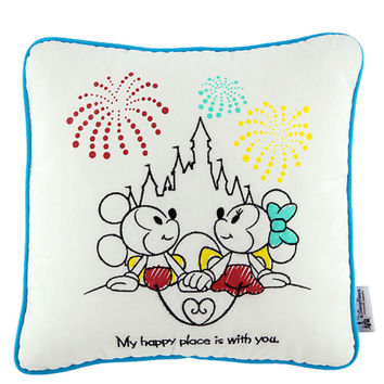 Disney Parks Mickey & Minnie My Happy Place is with You Pillow New with Tags