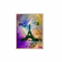 "AlyZen Moonshadow ""EIFFEL TOWER (PURPLE)"" Yellow Travel KESS Naturals Canvas (Frame not Included)"