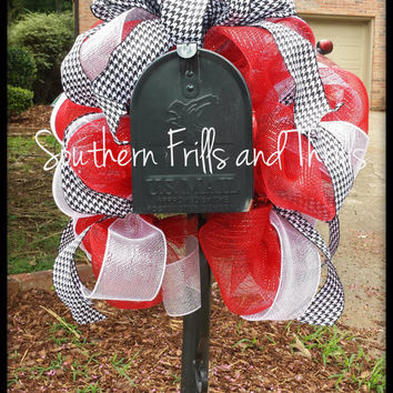 Alabama Mailbox Swag, Alabama Deco Mesh, Alabama Decor, University of Alabama, Houndstooth Decor, Mailbox Wreath, UA, Roll Tide