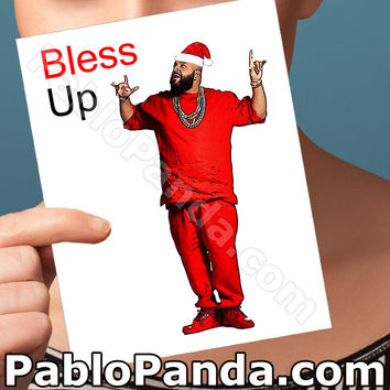 Funny Christmas Card | Dj Khaled Card | Gifts For Men Bless Up Christmas Cards Funny Blank Card Card For Wife Gifts For Dad  Santa Claus We