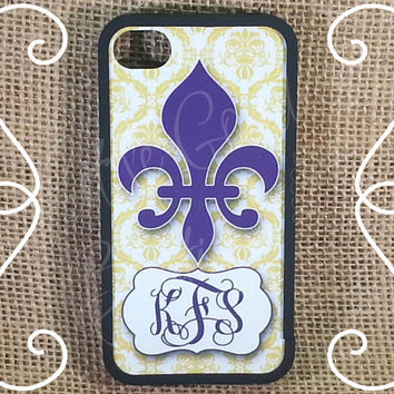 SALE 27% OFF! iPhone 4 4s 5 5s 5c iPod Touch 4 5 Personalized Custom Damask Fleur de Lis Purple Yellow LSU HaRD, RuBBer, or BuMPeR case