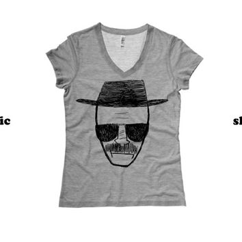 Heisenberg Womens Vneck TShirt | Breaking Bad Womens Vneck Shirt
