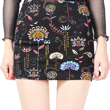 Women Printed High Waist Package Hip Mini Skirts