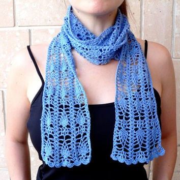 Hand Crochet Fashion Accessories Scarf Rustic Hair Band Belt Lace Blue Wrap Scarf Vacation Gift for MOM Loved Ones Wonderful and Chic Gift