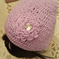 "L/XL Sparkling Light Purple ""Handmade"" Crochet Beanie. Ready to Ship"