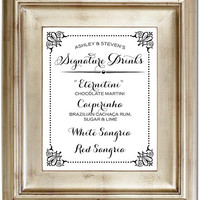 8x10 Signature Drinks Cocktails Bar White Wedding Sign Black Friday AND Cyber Monday Sale