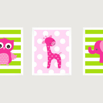 Hot Pink Elephant Giraffe Owl on Lime Green Pink CUSTOMIZE YOUR COLORS 8x10 Prints Set of 3, nursery decor nursery print art baby room decor