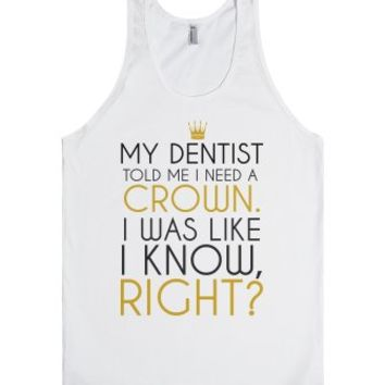 I need a crown tank top tee t shirt tshirt-Unisex White Tank