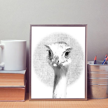 Ostrich art print, modern wall decor, contemporary print, black and white art print, wall art printable, printable poster, printable art