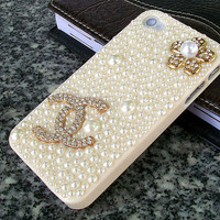 Pear  iphone 4 4s case,bling iphone 4 case ,with coco chanel logo, pear flower,handmade Iphone 4 4s case,DIY