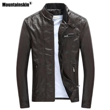 Mountainskin Mens PU Jackets Coats Motorcycle Biker Faux Leather Jacket Men Winter Clothes Thick Velvet Coat SA590