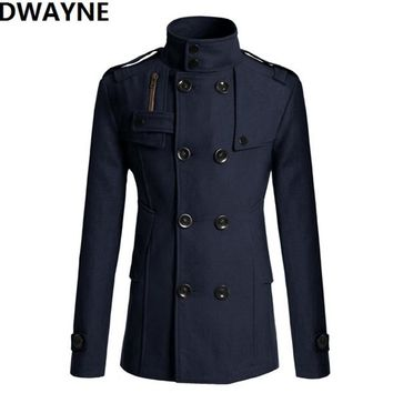 DWAYNE Autumn winter high quality men casual Blends jackets cheap Business thick slim fit male trench overcoat long peacoat cool