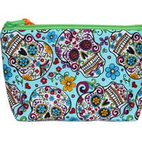 NEW Sugar Skulls Makeup Bag | Day of the Dead Zipper Bag | Dia De Los Muertos Zipper Pouch | Teal Cosmetic Case