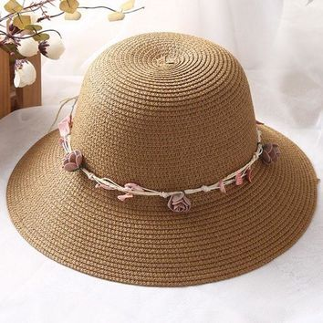 LMF78W Elegant Summer Mom Child Flower Strap Straw Sun Hat Floppy Women Beach Casual Cap
