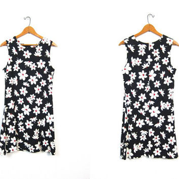 Floral Mini Dress 90s Flower Print Boho Grunge SunDress Mod Black White Flirty Minidress Express 1990s Sun Dress Size XS Small