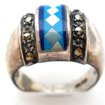 Lapis Turquoise & Mop Pearl Ring 925 Size 7.5