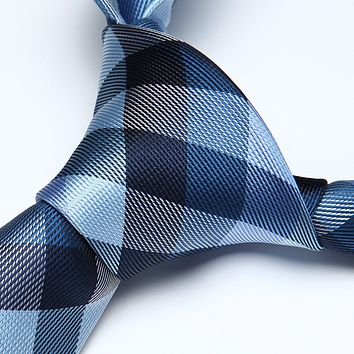Blue White Check Silk Necktie Pocket Square