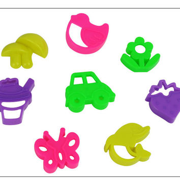 8pcs set Flower Car Shape Play dough accessory Plasticine Mold Tools PlayDough Model Play-Doh Tool Set Free Shipping