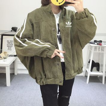 """Adidas"" Unisex Casual Fashion Stripe Loose Buttons Cardigan Long Sleeve Corduroy Baseball Clothes Retro Couple Coat"