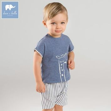 DBM7641 dave bella summer baby boys print clothing sets children infant toddler suit kid's high quality clothes