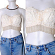 Vintage 1990s beaded sequin cropped white BEADED corset BUSTIER Fringe Top shirt 34C