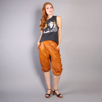 70s LEATHER Cropped PANTS / Buttery Soft Caramel  Boho KNICKERS, xs-s