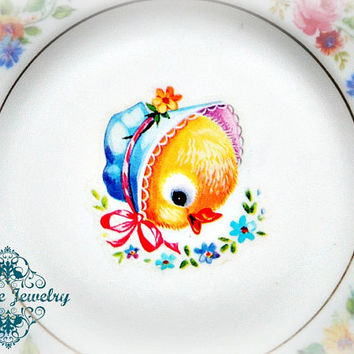Shabby Baby Chick Duckling Floral Vintage PETITE Plate Dish Wall decor gold blue chic flower retro easter girly little girl doll bonnet