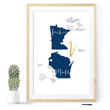 Navy and Gold Wedding guest book alternative, guest book map, unique guest book, guestbook idea, wedding map, guest book sign, map guestbook