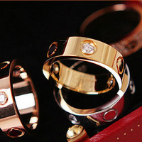 Women men Fashion Famous brand crystal Jewelry Love rings luxury titanium steel Rose Gold Silver bijoux bagues femme lovers ring