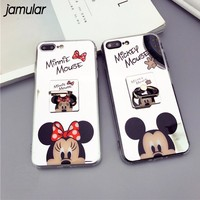 Cartoon Minnie Mickey Mouse Phone Cover for iPhone X XS MAX XR 7 8 Plus Cases Mirror Phone Case for iPhone 6s 6 Plus SE 5S