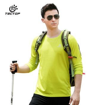 TECTOP Outdoor sports Hiking T Shirt Men Round Neck Long sleeves Quick Dry T-shirt Trekking Camping Breathable T-shirt