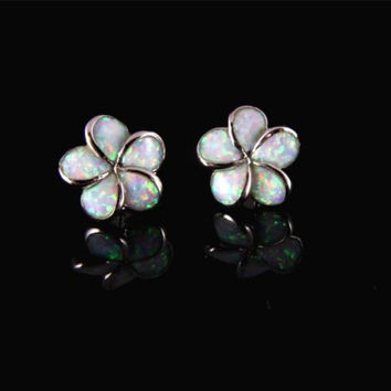 INLAY OPAL 12MM HAWAIIAN PLUMERIA FLOWER STUD POST EARRINGS STERLING SILVER 925