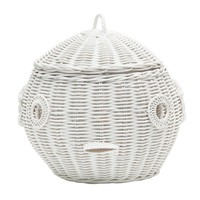 Puffer Fish Wicker Laundry Basket Nursery Toys Home White