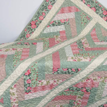 Lap Quilt, Friendship Braid, Green and Pink