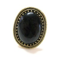 Adjustable Black Fashion Ring [Jewelry]