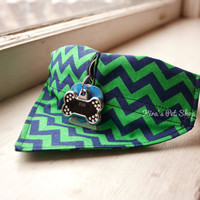 Handmade Dog Bandana with Space for Tags - Green Navy Chevron Velcro Over the Collar Dog Bandanna w ID Tag Slot Pet Accessories Dog Scarf