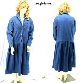 Vintage 70s denim maxi dress L XL Long boho jean dress long sleeve 1970s retro denim prairie country western dress  SunnyBohoVintage