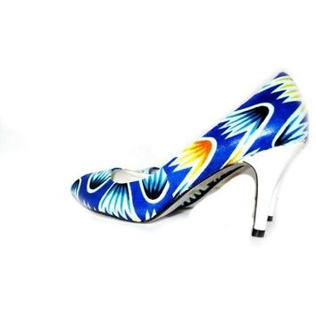 Blue And Yellow African Fabric Wedding Shoes