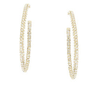 Gold BCBG Pave Oval Hoop Earrings